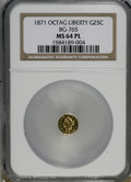 California Fractional Gold, 1871 25C Octagonal Liberty BG-765 MS64 Prooflike NGC. (#710592)...