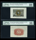 Fractional Currency:Second Issue, Fr. 1314SP 50c Second Issue Wide Margin Pair PMG Choice About Unc 55 EPQ & 58 EPQ.... (Total: 2 notes)