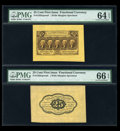 Fractional Currency:First Issue, Fr. 1282SP 25c First Issue Wide Margin Pair PMG 64 EPQ and 66 EPQ....
