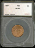 Additional Coins: , 1865 2C Two Cent Piece MS 65 Red. Fully struck with lustrous p...