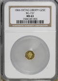 California Fractional Gold, 1866 25C Liberty Octagonal 25 Cents, BG-737, R.5, MS63 NGC....
