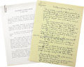 """Movie/TV Memorabilia:Memorabilia, Buddy Ebsen Handwritten and Typed Essay """"The Pleasure of Being aCaptain."""" Sailing was one of Buddy Ebsen's great passions. ...(Total: 1 Item)"""