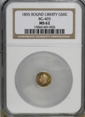 California Fractional Gold: , 1855 50C Liberty Round 50 Cents, BG-405, R.5, MS62 NGC. NGC Census:(1/3). PCGS Population (7/5). (#10441)...