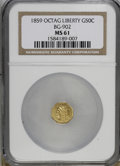 California Fractional Gold: , 1859 50C Liberty Octagonal 50 Cents, BG-902, Low R.4, MS61 NGC. NGCCensus: (1/11). PCGS Population (4/89). (#10760)...