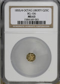California Fractional Gold: , 1855/4 25C Liberty Octagonal 25 Cents, BG-106, R.3, MS63 NGC. NGCCensus: (4/12). PCGS Population (41/44). (#10375)...