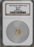 California Fractional Gold: , 1856 25C Liberty Round 25 Cents, BG-230, Low R.4, MS61 NGC. NGCCensus: (0/10). PCGS Population (10/91). (#10415)...