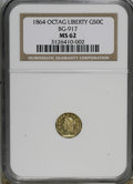 California Fractional Gold: , 1864 50C Liberty Octagonal 50 Cents, BG-917, R.4, MS62 NGC. NGCCensus: (0/1). PCGS Population (18/5). (#10775)...
