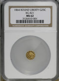 California Fractional Gold: , 1864 25C Liberty Round 25 Cents, BG-821, Low R.5, MS62 NGC. PCGSPopulation (10/3). (#10682)...