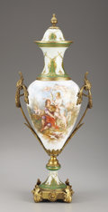 Ceramics & Porcelain, Continental:Antique  (Pre 1900), A FRENCH SÈVRES-STYLE PORCELAIN AND GILT BRONZE VASE AND COVER. Painted by Charles Fuchs, France, Late 19th-Early 20th Centu...