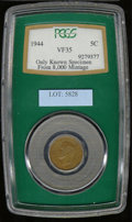 World: , George VI Tombac 5 cents 1944, Bust left/Large V with the dat...