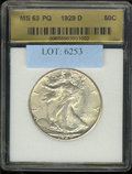 Additional Coins: , 1929-D Half Dollar MS 63 Fleur De Coin. Well detailed with thic...