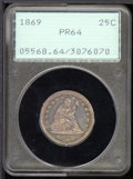 Proof Seated Quarters: , 1869 25C