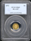 California Fractional Gold: , 1872 $1 BG-1207