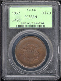 Undated (1857) Double Eagle, Judd-190, Pollock-3158, Unique, PR 63 Brown PCGS. Uniface die trial of the reverse of the r...