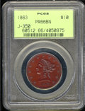 1863 Ten Dollar, Judd-350, Pollock-422, R.6, PR 66 Brown PCGS. The obverse has the same design used on regular issue 186...