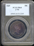 1869 Half Dollar, Judd-742, Pollock-823, R.5-6, PR 64 PCGS. The bust of Liberty faces right with UNITED STATES OF AMERIC...