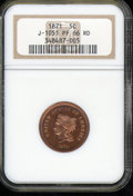 1871 Five Cents, Judd-1051, Pollock-1185, R.5, PR 66 Red NGC. A practical design that uses the three cent nickel obverse...