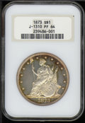 1873 Trade Dollar, Judd-1310, Pollock-1453, R.4, PR 64 NGC. A Trade dollar design in the year of its regular issue debut...