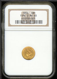 1854 Type Two MS 65 NGC. Upon his appointment to the post of Mint Director in 1853, Colonel James Ross Snowden enacted p...