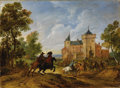 Old Master:Other, ADAMS FRANS VAN DER MEULEN (Flemish 1632-1690). Horsemen In A Landscape (said to be near Dinan). Oil on panel. 8-1/2 x 1...