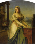 Paintings, MARIE-PHILIPPE COUPIN DE LA COUPERIE (French 1773-1851). Woman At The organ Before A Statue Of The Virgin And Child (Saint...