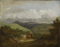 Fine Art - Painting, European:Antique  (Pre 1900), Attributed to THOMAS GAINSBOROUGH (British 1727 - 1788). TheWaggoner: Landscape Near Bath. Oil on canvas. 9-3/4 x 12 in...