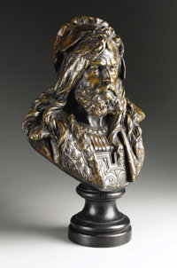 ALBERT ERNEST CARRIER-BELLEUSE (French 1824-1887) Bust Of Albrecht Dürer Bronze, dark brown patination set on base...
