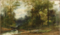 Paintings, CHRISTOPHER H. SHEARER (American 1840-1926). Romantic Woodland Landscape With Meandering Stream. Oil on canvas. 14 x 24 ...
