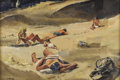 Fine Art - Painting, American:Modern  (1900 1949)  , ZOLTAN L. SEPESHY (Hungarian-American 1898-1974).Sunbathers. Tempera on board. 21-1/2 x 28 inches, framed (46x 59.9 cm...