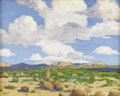 Paintings, STEPHEN POSTUHOV (living). Texas Big Sky, April 2004. Oil on artist board. 16in. x 20in.. Signed lower left. Dated and t...