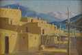 Texas:Early Texas Art - Regionalists, ALBERT LOOKING ELK(1888-1941). Taos Pueblo, 1925. Oil onboard. 7in. x 9in.. Signed lower right. Label verso:. Western...