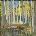 Texas:Early Texas Art - Regionalists, HELMUTH NAUMER . Aspens And Stream, 1940. Pastel. 10in. x10in.. Unsigned. Provenance:. Gerald G. Peters Gallery. Sant...