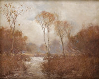 JULIAN ONDERDONK (1882-1922) October Landscape Oil on canvas 24in. x 30in Signed lower right  This impressive larg