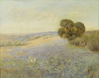 ATTRIBUTED TO DAWSON DAWSON-WATSON (1864-1939) Untitled Bluebonnet Landscape Oil on canvas 24in. x 30in. Unsigned  Thi...