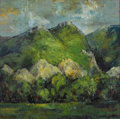 Texas:Early Texas Art - Modernists, ERIC GIBBERD (1897-1972). Big Horn Range, 1967. Oil onmasonite. 35 1/4in. x 35 1/2in.. Signed and dated lower left.Sig...