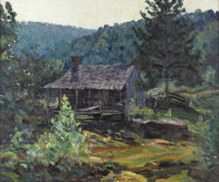 OLIN TRAVIS (1888-1975) The Crawford Homestead Near St. Paul, Ark., late 1920s to early 1930s Oil on canvas 20in. x 2