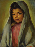 Texas:Early Texas Art - Regionalists, JOHN ORTH (1889-1976). Mexican Girl. Oil on masonite. 16in.x 12in.. Signed lower right. Provenance: Estate of John O...