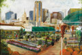 Texas:Early Texas Art - Impressionists, WESLEY WHITAKER (living). Farmers Market and DowntownDallas. Oil on canvas. 24in. x 36in.. Signed lower left. Wesley...