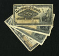 Canadian Currency: , Four Canadian Shinplasters.. DC-15b 25¢ 1900 Two Examples Fine.DC-15c 25¢ 1900 VG-Fine. DC-24b 25¢ 1923 Fine.. ... (Total: 4notes)