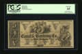 Obsoletes By State:Louisiana, New-Orleans, LA- Canal & Banking Co. $5 18__. This remainder is fully framed with ample margins. Ben Franklin and allegorica...