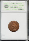 Proof Indian Cents: , 1864 1C L ON RIB, RB