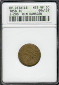 1858 Indian Cent, Judd-208, Pollock-259, R.4.--Rim Damaged--ANACS. XF Details, Net VF 30. A second affordable example of...