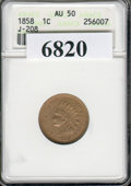 1858 Indian Cent, Judd-208, Pollock 253, R.7, AU 50 NGC. Indian cent pattern with the adopted design of 1859, but dated...