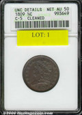 1809--Cleaned--ANACS. Unc. Details, Net AU 50. B-5, C-5, R.1. Well struck in most areas, the surfaces show an even, medi...