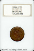 1853 MS 64 Brown NGC. Sharply struck with deep chocolate-brown surfaces. ...(PCGS# 1227)