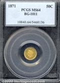 California Fractional Gold: , 1871 50C BG-1011