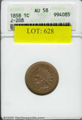 1858 Indian Cent, Judd-208, Pollock-259, R.4, AU 58 ANACS. Regular dies obverse as adopted in 1859. The reverse wreath i...