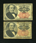 Fractional Currency:Fifth Issue, Fr. 1308 Pair 25c Fifth Issue Fine-Very Fine.... (Total: 2 notes)