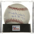 "Autographs:Baseballs, Phil Niekro ""H.O.F. '97"" Single Signed Baseball, PSA Mint+ 9.5. Theknuckleballing ace of the Atlanta Braves staff makes not..."