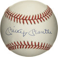 Autographs:Baseballs, Mickey Mantle Single Signed Baseball. A sparkling example of the Hall of Fame great Mickey Mantle's highly desirable signat...